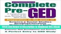 [Read Book] Contemporary s Complete Pre-GED : A Comprehensive Review of the Skills Necessary for