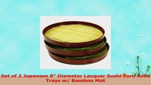 Set of 3 Japanese 8 Diameter Lacquer Sushi Zaru Soba Trays w Bamboo Mat c6abbf20