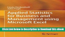 [Read Book] Applied Statistics for Business and Management using Microsoft Excel Kindle