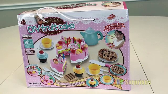 Toy Cutting VELCRO Birthday Sponge Fruit Cake Velcro Foods Playset Toys for Kids Learn to Count