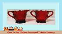 Solid Ruby Red Glass Creamer  Sugar Inverted Thistle Pattern 0255cc86
