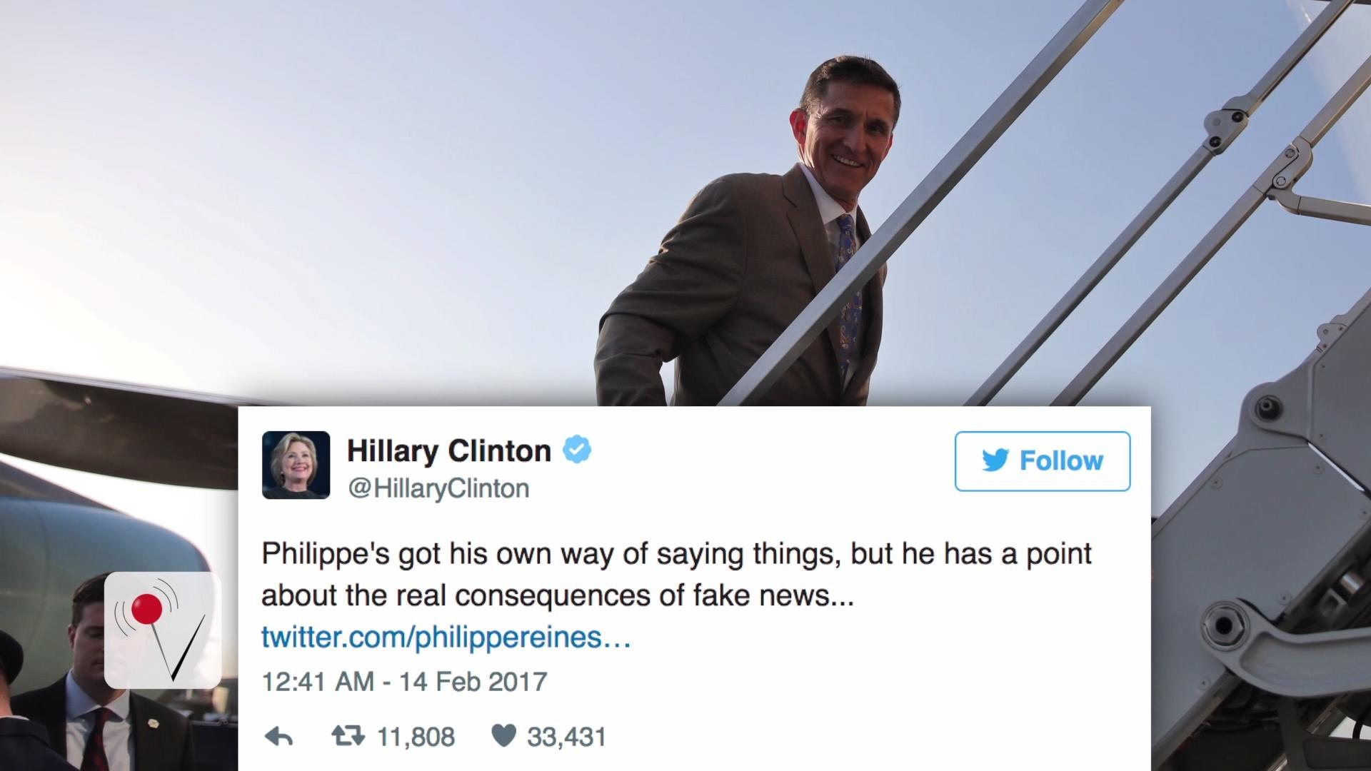 Hillary Clinton Trolls Trump Again on Twitter Over Michael Flynn's Resignation