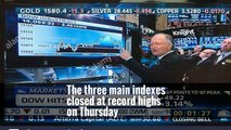 (Reuters) - The main U. S. stock indexes hit record intraday highs on Monday, led by financials