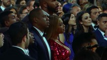 Beyonce Reacts as Adele Accepts Album of The Year  Audience Cam  59th GRAMMYs 2017