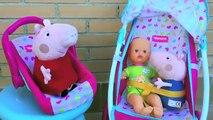 PEPPA PIG EN GEORGE IN DE KINDERWAGEN MET BABY POP BUGGY VAN NENUCO SPEELGOED FILMPJE NEDERLANDS