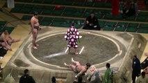 Un sumo mis complètement KO dès le début d'un combat
