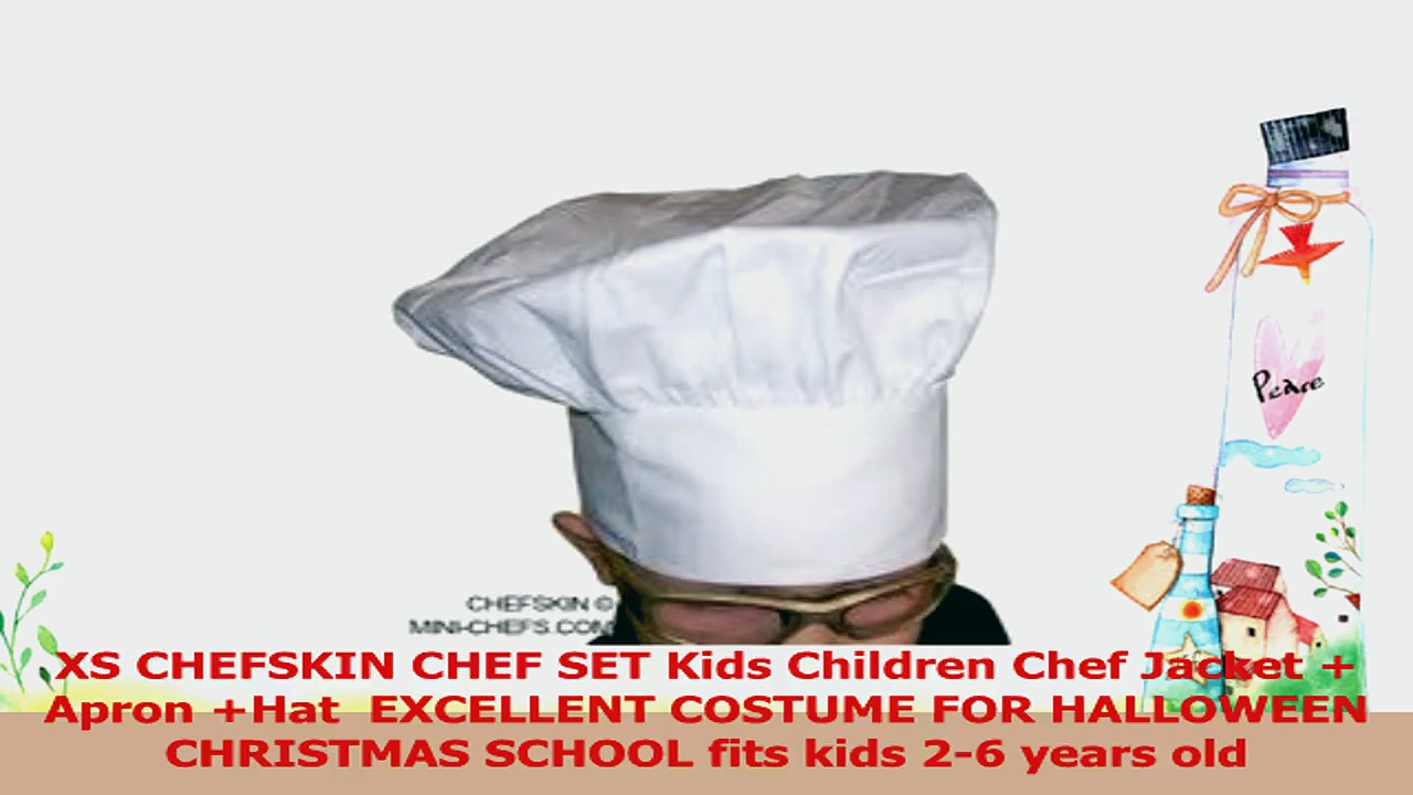 XS CHEFSKIN CHEF SET Kids Children Chef Long Sleeve Jacket  Apron Hat  EXCELLENT COSTUME 501b4196