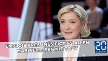 Soupçons d'emplois fictifs au FN: Marine Le Pen nie tout
