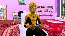 Finger Family Rhymes For Children Yellow Spiderman Vs Red Batman SuperHero Mega Fight And Battles