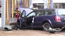 Automobilist ramt stambeeld gevel Schouwburg Meppel