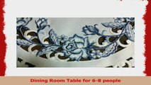 Table Runner Embroidered with Blue Roses on Bleached White Fabric Size 54 x 15 inches 4ef7bea0