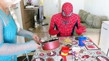 Spiderman Poo Fire with Frozen Elsa, Pink Spidergirl & Joker! Spiderman Farts flames - Sup