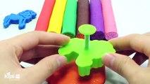 Aprender los Colores con Play Doh Animal Moldes Elefante León Jirafa Sello Creativas y Divertidas para los Niños