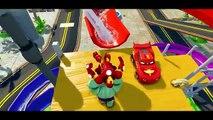 AMAZING SPIDERMAN Flying with bike! Funny Race with Avengers HULK Iron Man & Disney Cars M