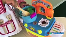 TOY CUTTING VELCRO FRUITS AND VEGETABLES Toy kitchen cooking soup Learn names of fruits & Vegetables