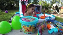 Huge Eggs Surprise + Booger Balls & 200 WATER BALLOONS TOYS Challenge on Inflatable Water Slide