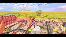 Spiderman VS Venom vs Batman vs monster trucks - Disney Pixar froZen cars races disney gam