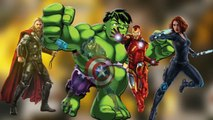 AVENGERS SUPERHEROES FINGER FAMILY - HULK Spiderman Venom Thor Ironman Captain A