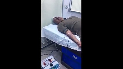 Health Minister Punjab Khawaja Salman donating blood for the injured of DHA incident