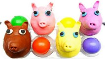 Узнайте цвета для детей с Свинка Пеппа Play Doh Цвет ЛИЦО Сюрприз яйца с игрушками | Детские видео