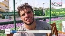 Séance d'entrainement de M. Jaziri avec R. Nadal à Doha