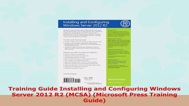 READ ONLINE  Training Guide Installing and Configuring Windows Server 2012 R2 MCSA Microsoft Press