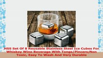 HSS Set Of 8 Reusable Stainless Steel Ice Cubes For Whiskey Wine Beverage With a0723405