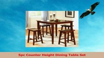 5pc Counter Height Dining Table and Stools Pub Set Dark Walnut Finish bd40a2c9