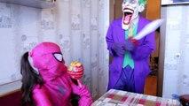 Frozen Elsa Gets Worms In Her Nose! vs Joker Worm Apple Prank Fun Superhero Kids In Real L