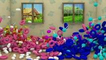 Aprender los Colores con los Huevos Sorpresa de Broma 3D para los Niños Pequeños Bolas de Colores de la Cara Sonriente