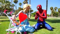 Frozen Elsa Becomes a Frog and Eats a Fly! Spiderman Kisses Frog w Hulk , Spiderbaby Super