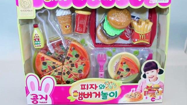 Toy Velcro Cutting Food Pizza, Ice Cream, Hamburger Playset Toys 피자 햄버거 소꿉놀이 와 뽀로로, 타요 장난감 YouTub