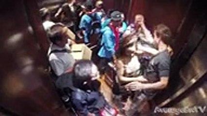woman in Elevator In Hotel