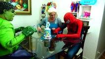 Spiderman Cooking Big Mac with Frozen Elsa & Hulk - Fun Superheroes Movie In Real Life-X