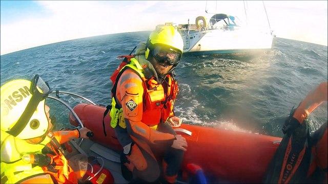 SNSM Cap d'Agde: Le sauvetage d'un voilier échoué et de son capitaine blessé aux abords du fort Brescou.
