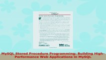 READ ONLINE  MySQL Stored Procedure Programming Building HighPerformance Web Applications in MySQL