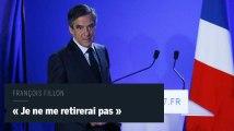 """""""Je ne cèderai pas, je ne me retirerai pas"""" annonce François Fillon"""