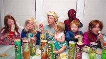 Funny Pringles Challenge with Frozen Elsa and Spiderman and Disney Princesses Joker Hot Sa