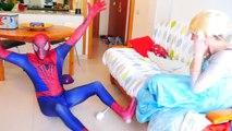 Человек-паук против мыши! Замороженные Эльза, Джокер, Супермен и розовый Человек-паук! Забавный Супергерой :