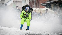 Skier Filip Flisar Charges Through Town with a Jetpack!