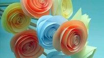 Roses from paper (Origami) Розы из бумаги на стеблях