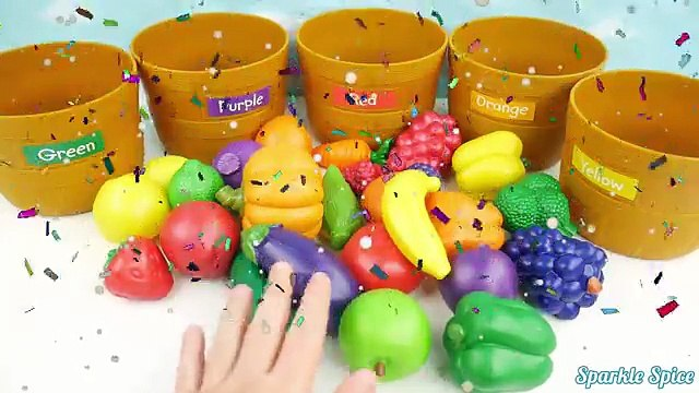 Learn COLORS, Sorting and Counting with Fruits & Vegetables Toys and Color to Teach Preschool Kids