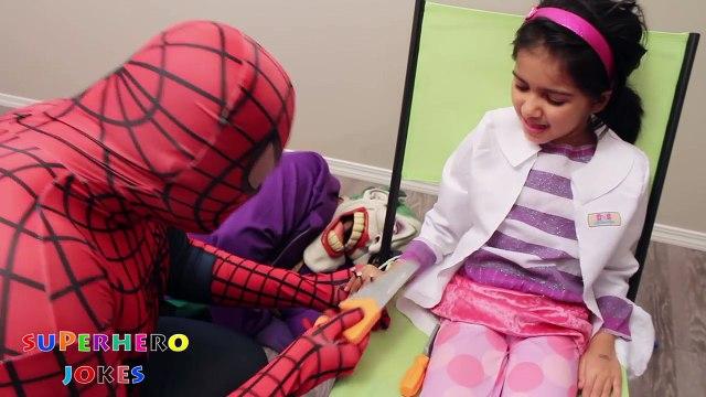 DOC MCSTUFFINS NAILS THROUGH FINGERS! w/ Spiderman, Evil Queen & Joker COMPILATION