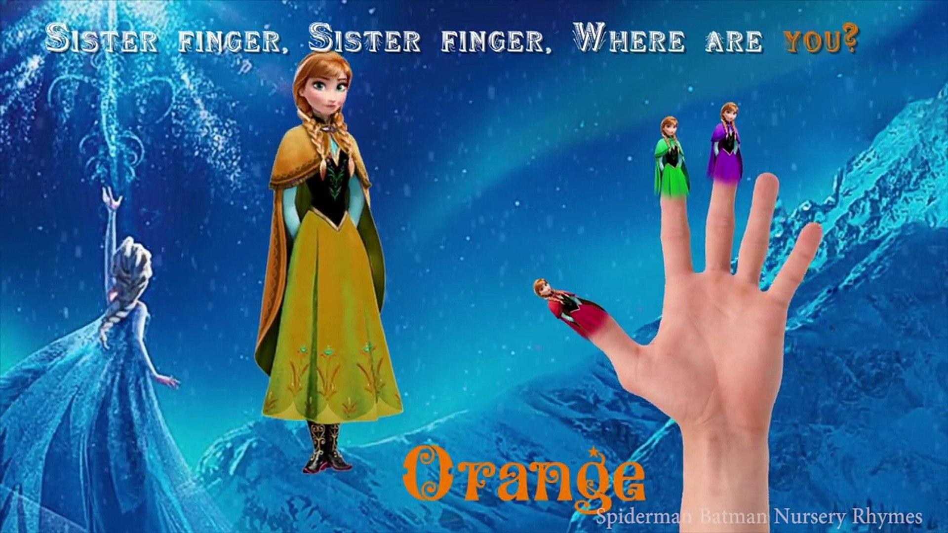 Дисней замороженные Анна палец семья потешки песни Принцесса Анна изучение цветов для детей