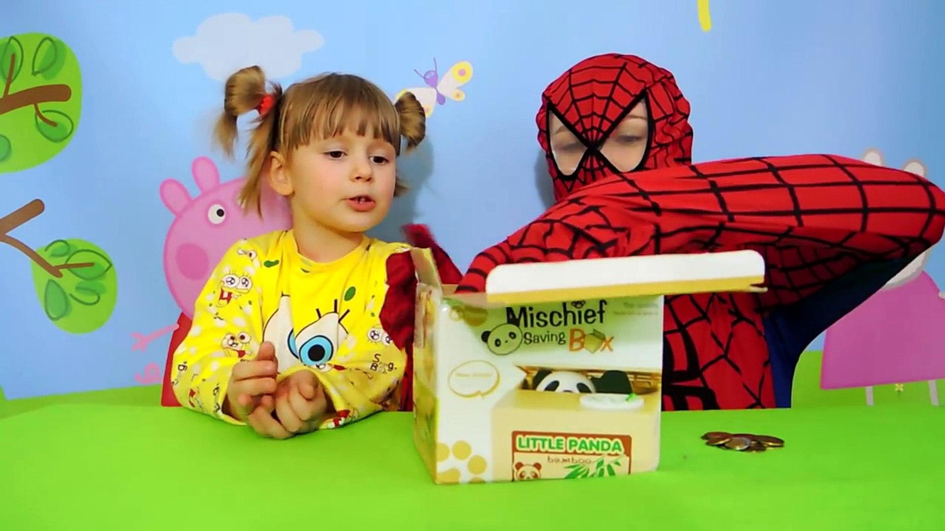 Spiderman. НАСТЯ и ЧЕЛОВЕК ПАУК. ПАНДА И СПАЙДЕР МЕН. Игры для детей.Spider-Men toys