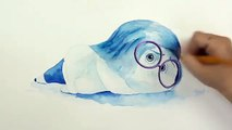 SPEED DRAWING SADNESS from Inside Out - Sad Emotion Watercolor Painting