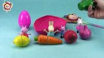 PEPPA PIG monta una frutería con sus amigas y Huevo sorpresa / Aprender las frutas en ingl