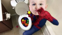 CRYING BABY SPIDERMAN POOPS EVERYWHERE! w/ Crying Hulk Baby & Poo Colored Balls & Joker Pr