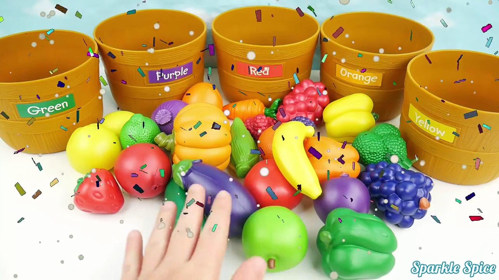 Учим цвета, сортировки и подсчета фрукты и овощи игрушки и цвет для обучения детей дошкольного возра