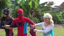 BABY Spiderman and Frozen Elsa Don't WEAR CLOTHES Black Spiderman steal  Joke